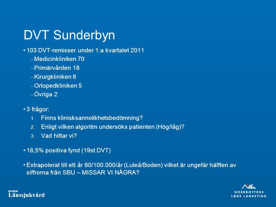 DVT Sunderbyn 103 DVT-remisser under 1:a kvartalet 2011