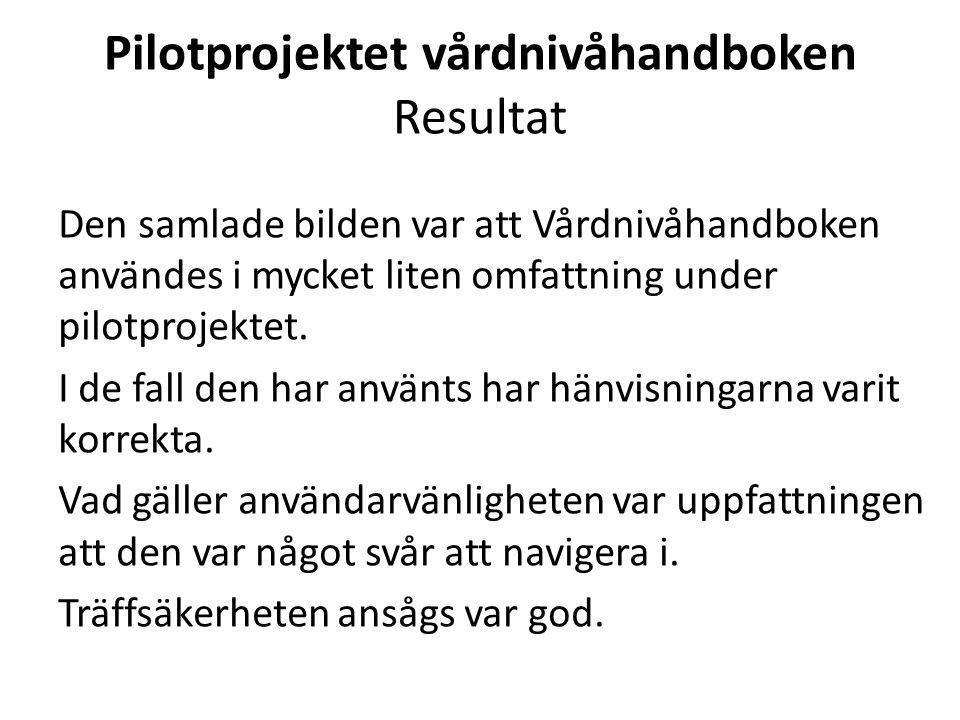Pilotprojektet vårdnivåhandboken Resultat