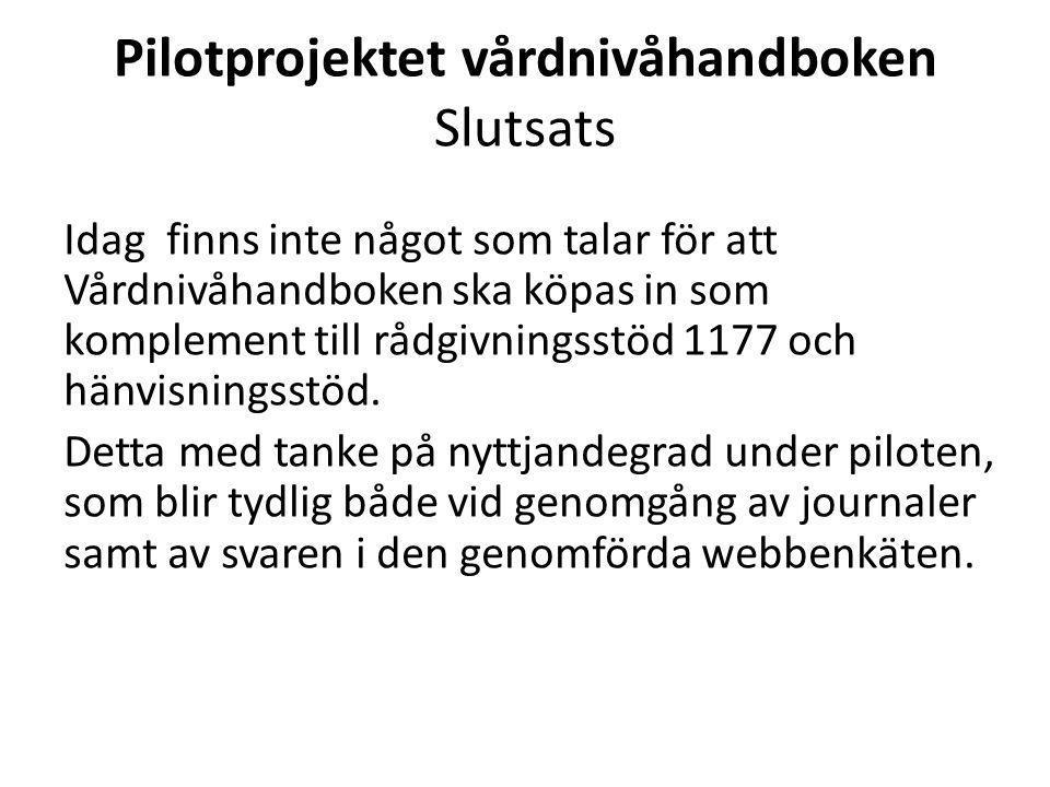 Pilotprojektet vårdnivåhandboken Slutsats