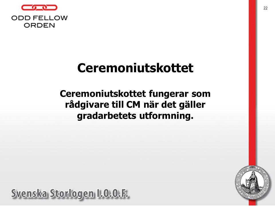 Ceremoniutskottet Ceremoniutskottet fungerar som rådgivare till CM när det gäller gradarbetets utformning.