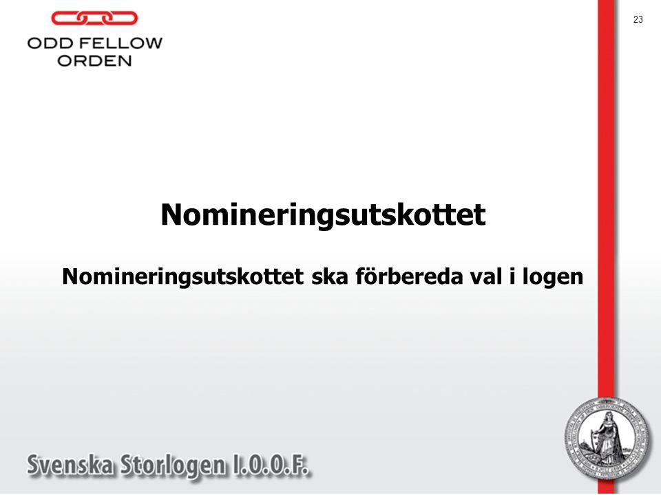 Nomineringsutskottet Nomineringsutskottet ska förbereda val i logen
