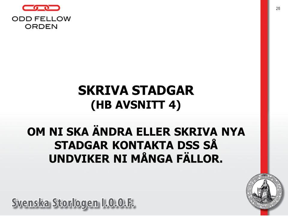 SKRIVA STADGAR (HB AVSNITT 4)