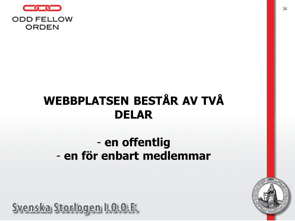 WEBBPLATSEN BESTÅR AV TVÅ DELAR en för enbart medlemmar