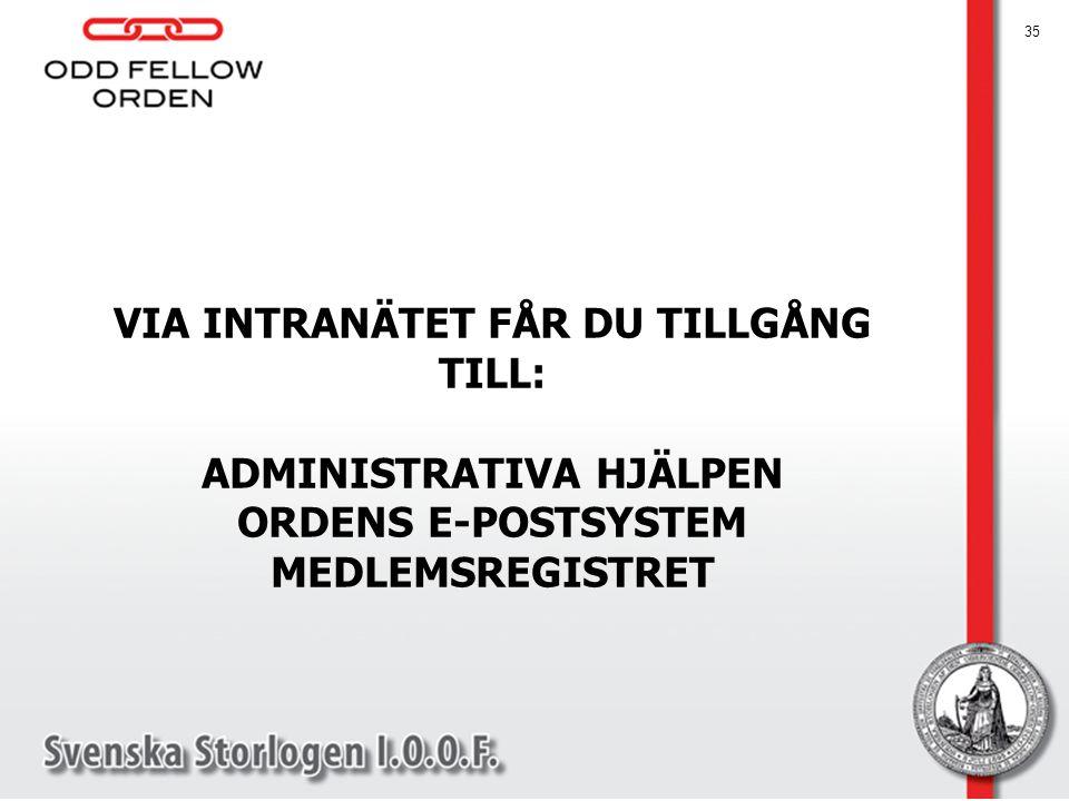 VIA INTRANÄTET FÅR DU TILLGÅNG TILL: ADMINISTRATIVA HJÄLPEN