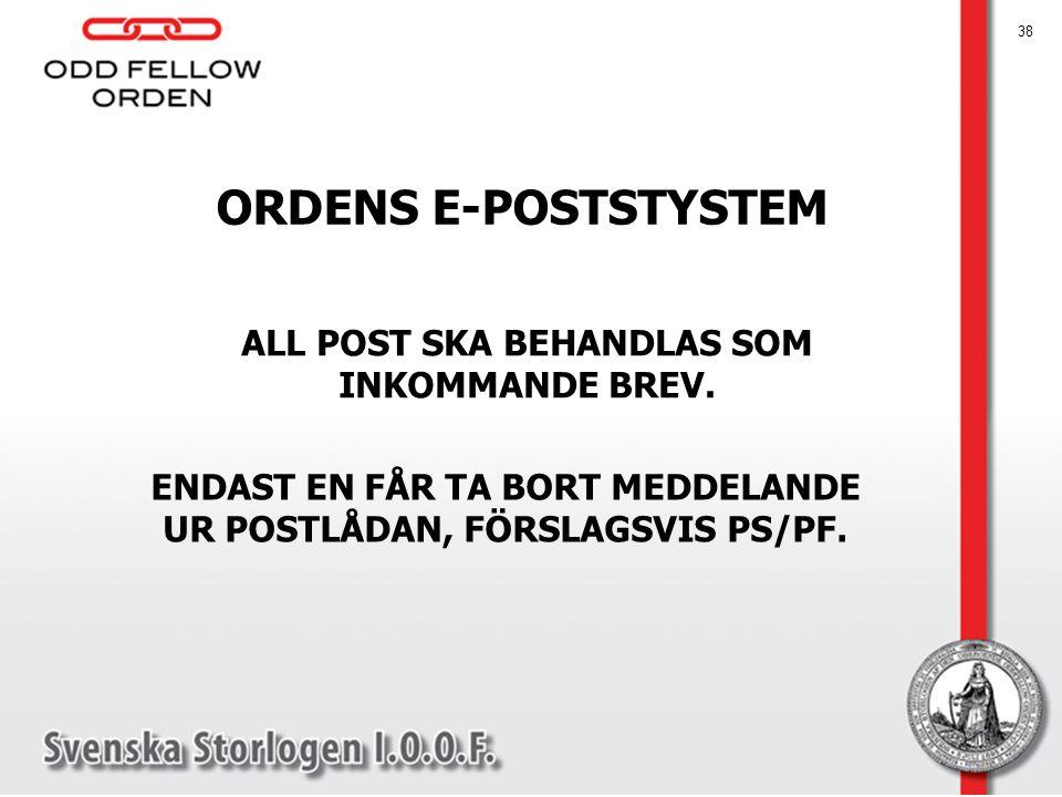 ORDENS E-POSTSTYSTEM ALL POST SKA BEHANDLAS SOM INKOMMANDE BREV.