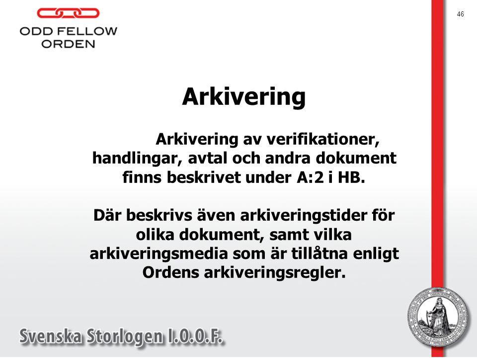 Arkivering Arkivering av verifikationer, handlingar, avtal och andra dokument finns beskrivet under A:2 i HB.