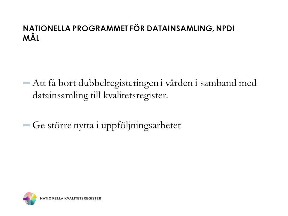 Nationella Programmet för datainsamling, NPDi mål