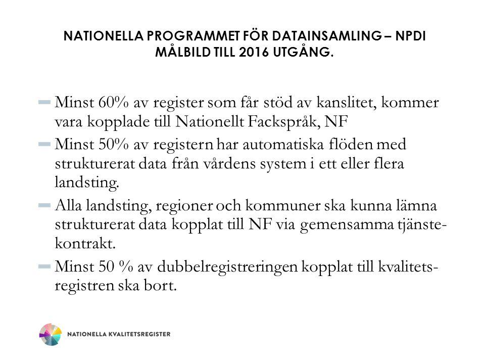 Nationella Programmet för Datainsamling – NPDI Målbild till 2016 utgång.