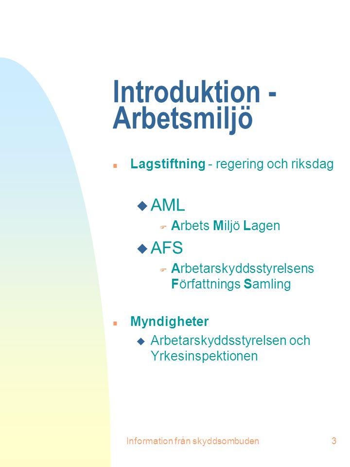 Introduktion - Arbetsmiljö
