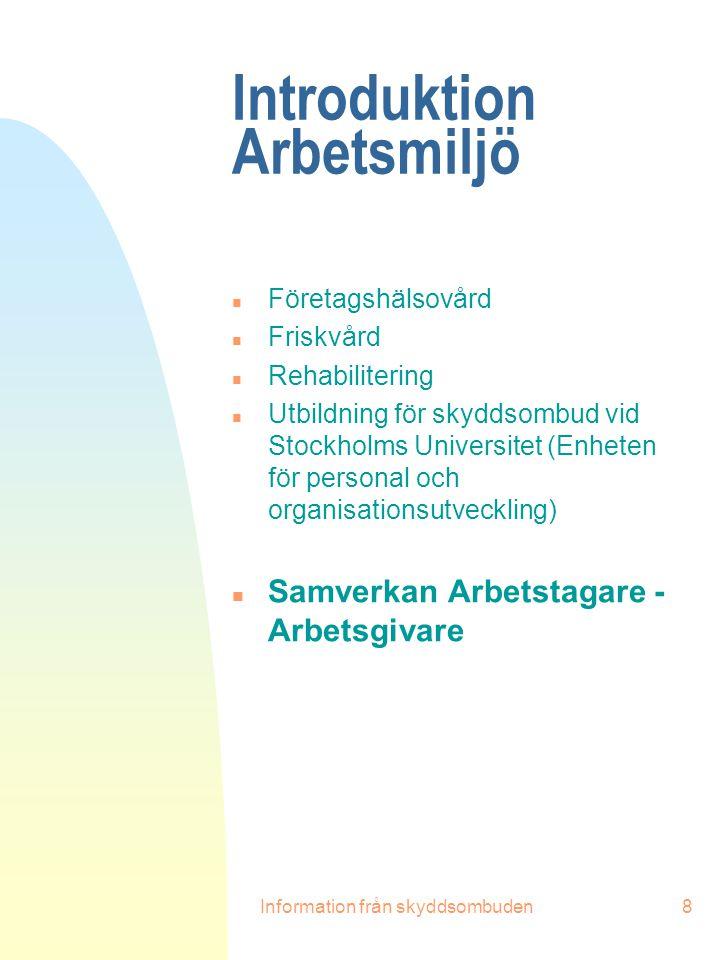 Introduktion Arbetsmiljö