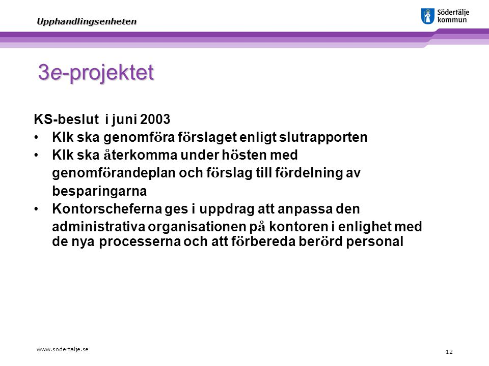 3e-projektet KS-beslut i juni 2003