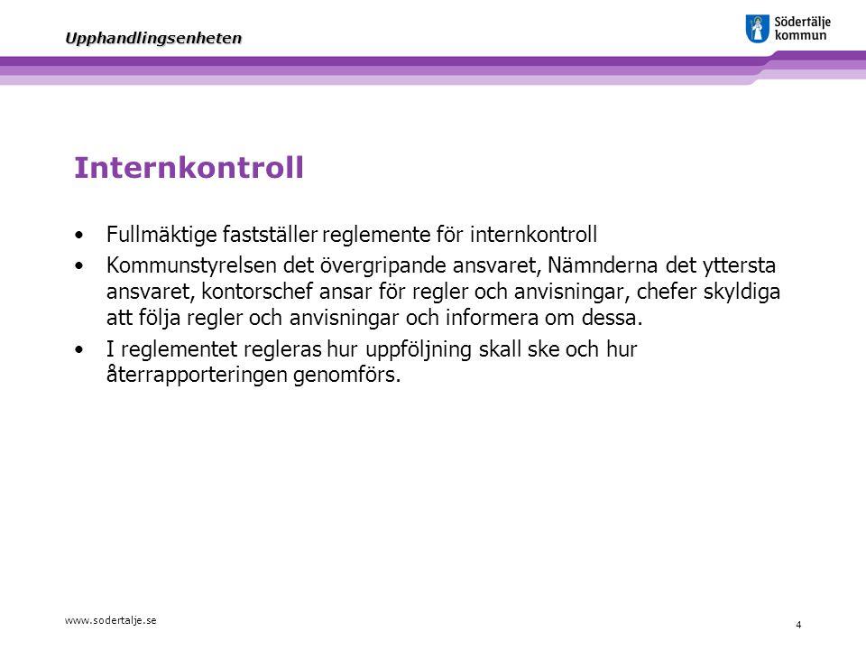 Internkontroll Fullmäktige fastställer reglemente för internkontroll