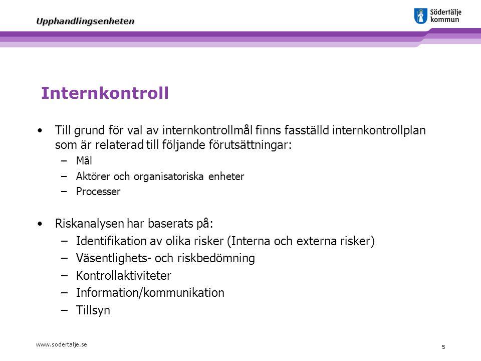 Internkontroll Till grund för val av internkontrollmål finns fasställd internkontrollplan som är relaterad till följande förutsättningar: