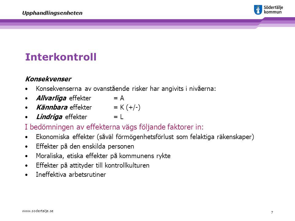 Interkontroll I bedömningen av effekterna vägs följande faktorer in: