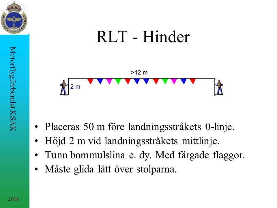 RLT - Hinder Placeras 50 m före landningsstråkets 0-linje.