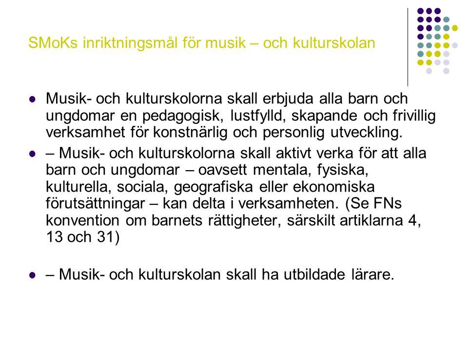 SMoKs inriktningsmål för musik – och kulturskolan