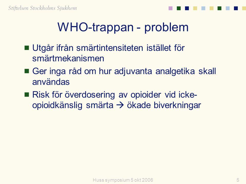 WHO-trappan - problem Utgår ifrån smärtintensiteten istället för smärtmekanismen. Ger inga råd om hur adjuvanta analgetika skall användas.