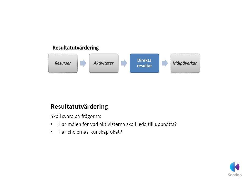 Resultatutvärdering Skall svara på frågorna: