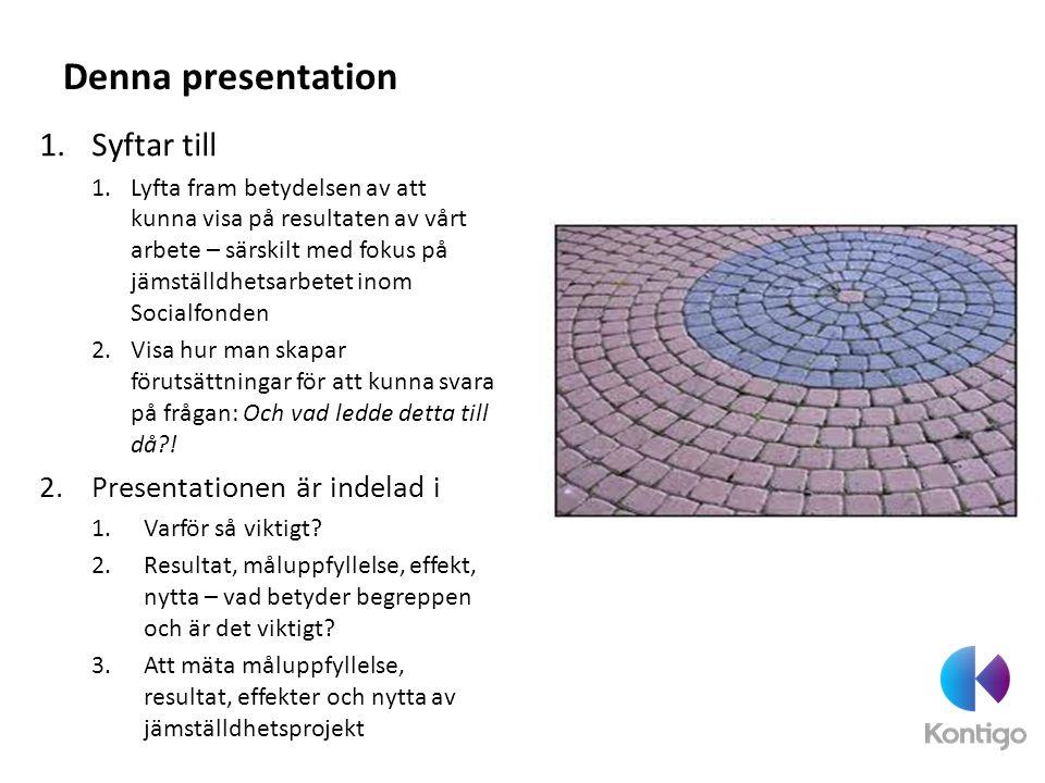 Denna presentation Syftar till Presentationen är indelad i