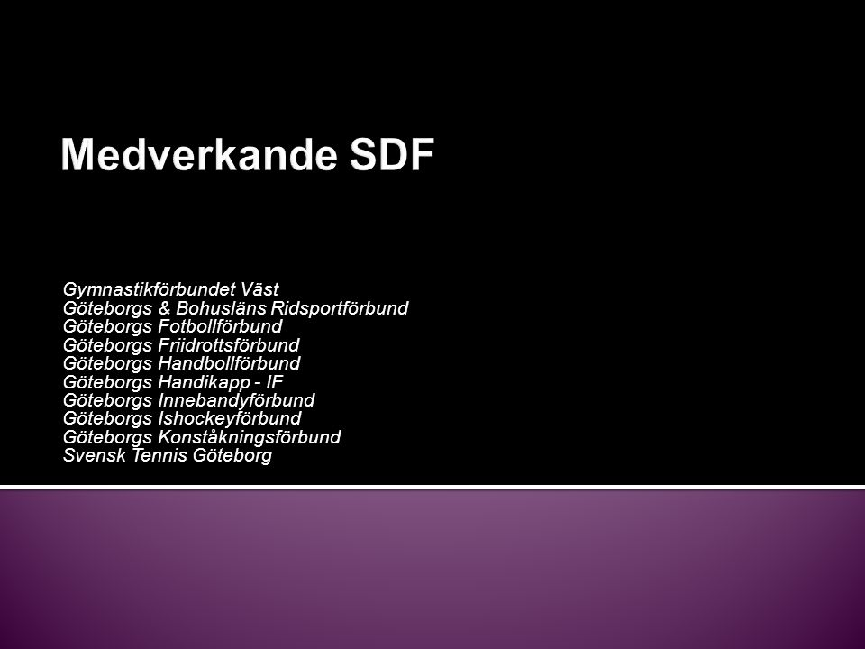 Medverkande SDF Gymnastikförbundet Väst