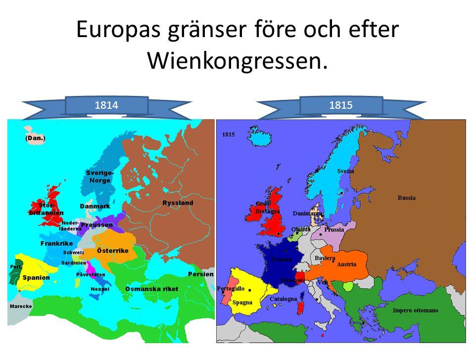 Europas gränser före och efter Wienkongressen.