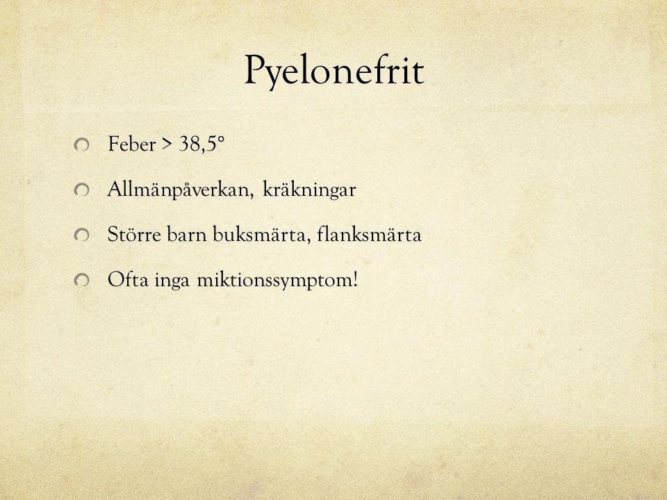 Pyelonefrit Feber > 38,5° Allmänpåverkan, kräkningar