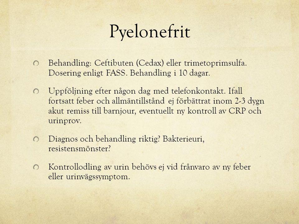 Pyelonefrit Behandling: Ceftibuten (Cedax) eller trimetoprimsulfa. Dosering enligt FASS. Behandling i 10 dagar.