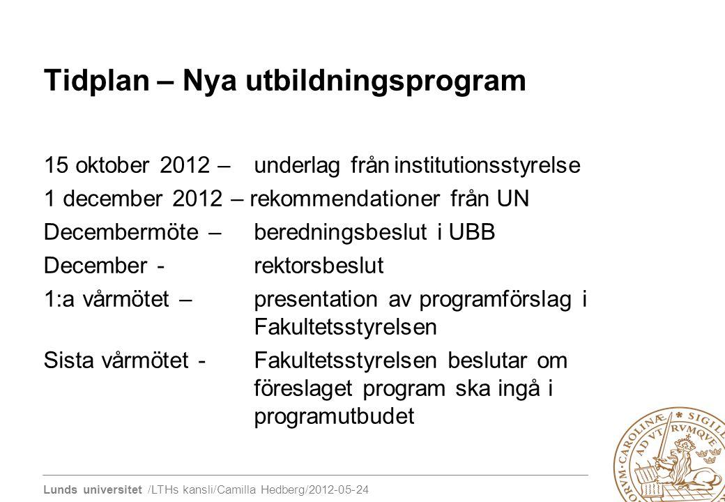 Tidplan – Nya utbildningsprogram