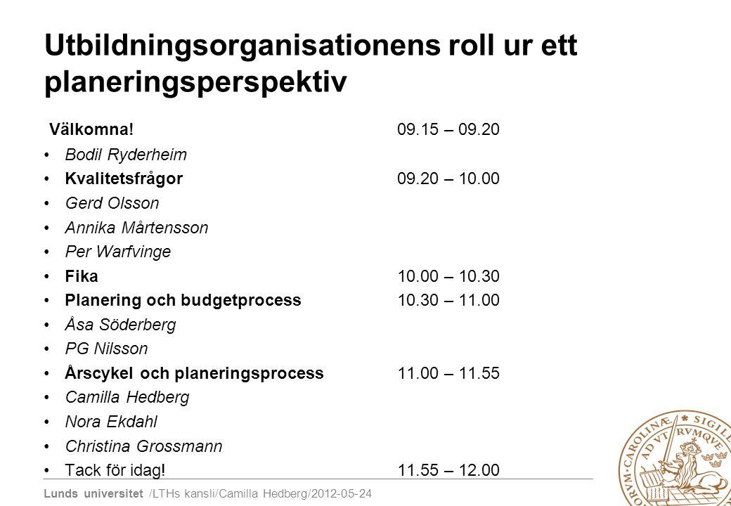 Utbildningsorganisationens roll ur ett planeringsperspektiv
