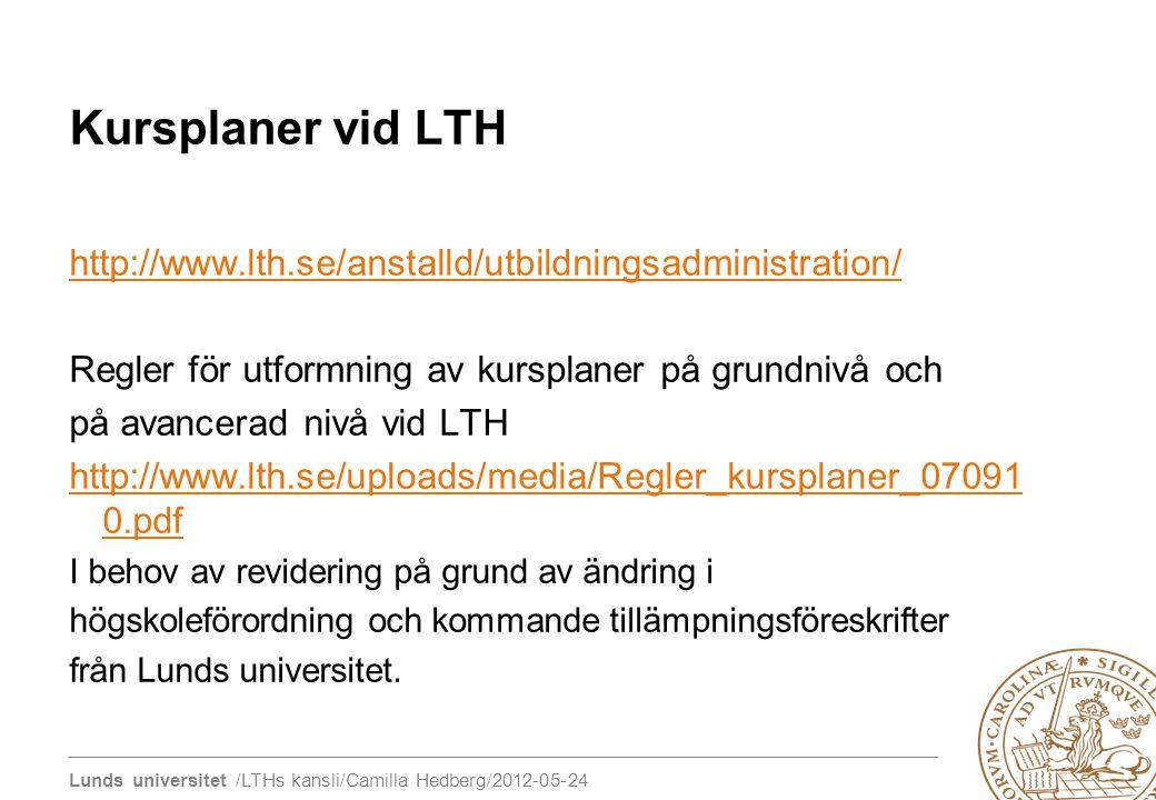 Kursplaner vid LTH http://www.lth.se/anstalld/utbildningsadministration/ Regler för utformning av kursplaner på grundnivå och.