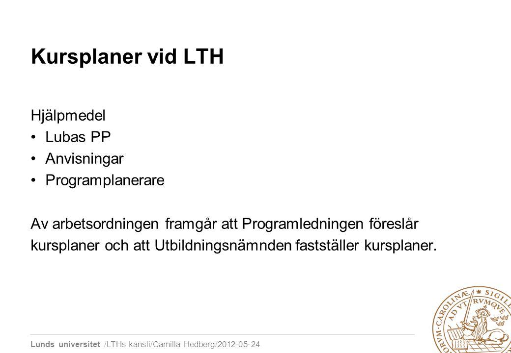 Kursplaner vid LTH Hjälpmedel Lubas PP Anvisningar Programplanerare