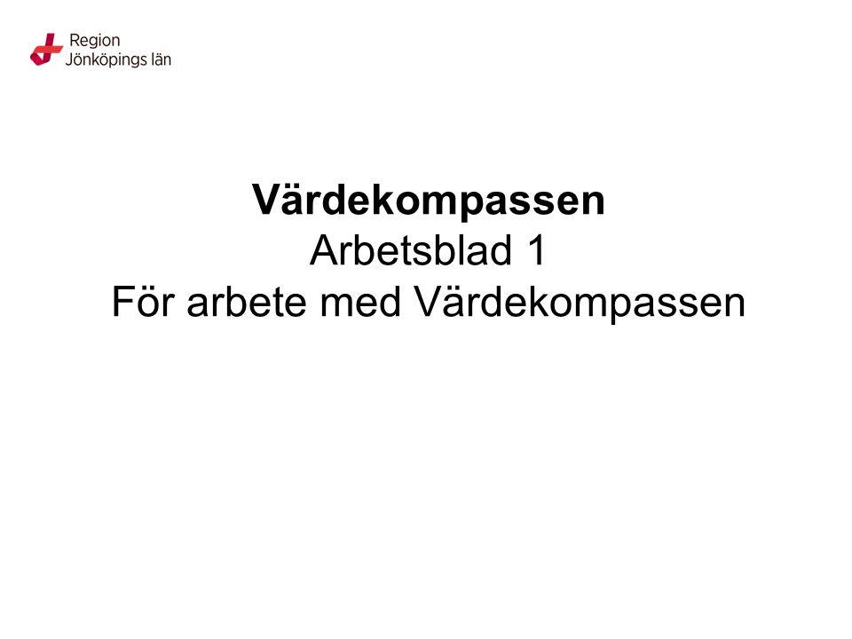 Värdekompassen Arbetsblad 1 För arbete med Värdekompassen