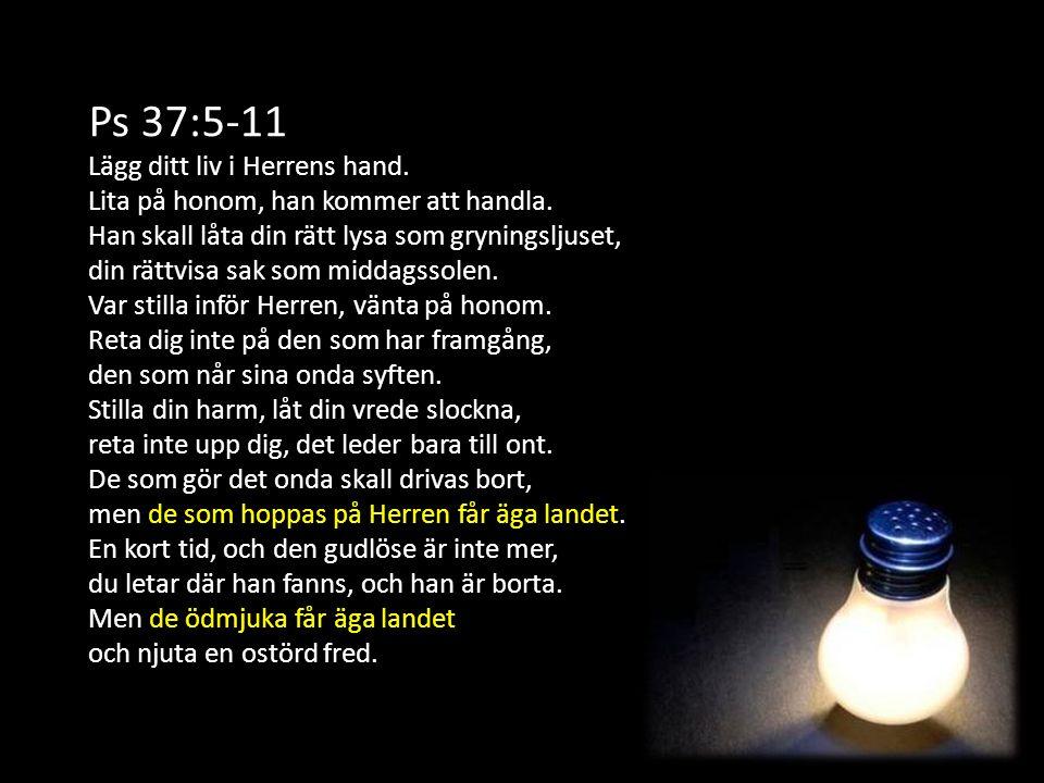 Ps 37:5-11 Lägg ditt liv i Herrens hand.
