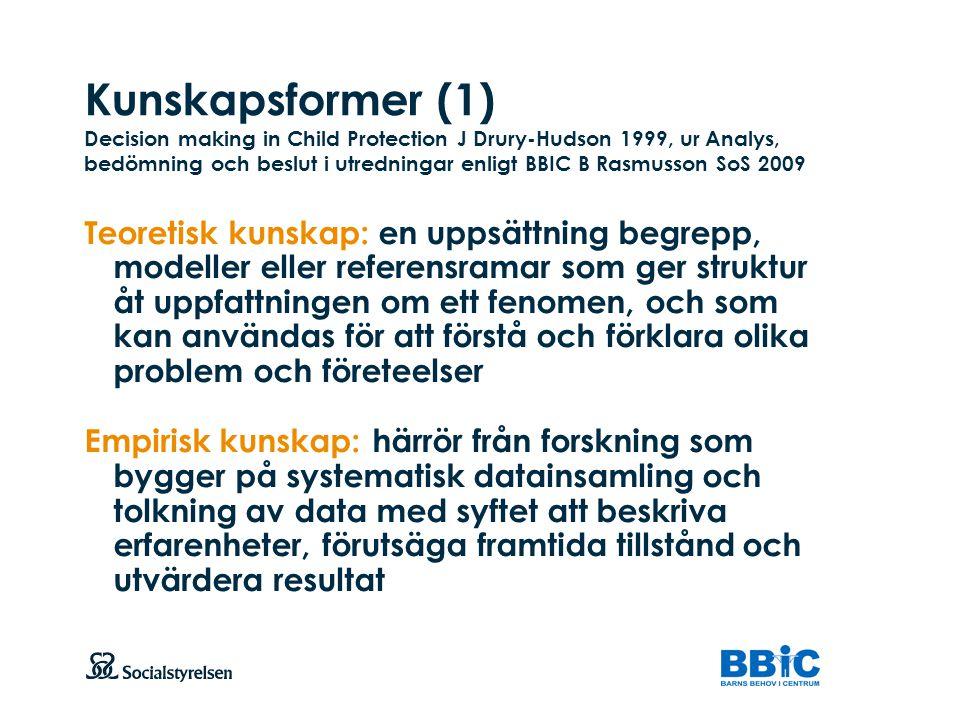 Kunskapsformer (1) Decision making in Child Protection J Drury-Hudson 1999, ur Analys, bedömning och beslut i utredningar enligt BBIC B Rasmusson SoS 2009