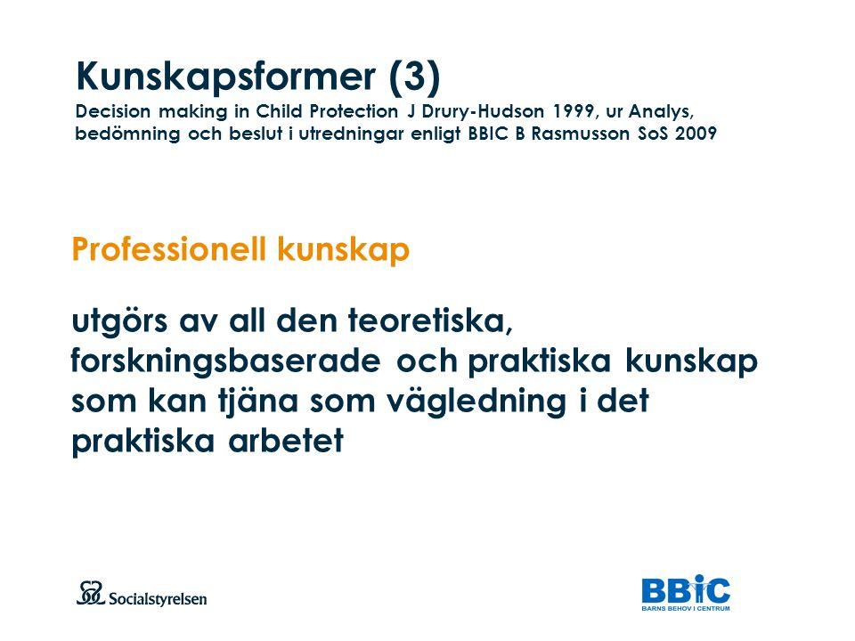 Kunskapsformer (3) Decision making in Child Protection J Drury-Hudson 1999, ur Analys, bedömning och beslut i utredningar enligt BBIC B Rasmusson SoS 2009