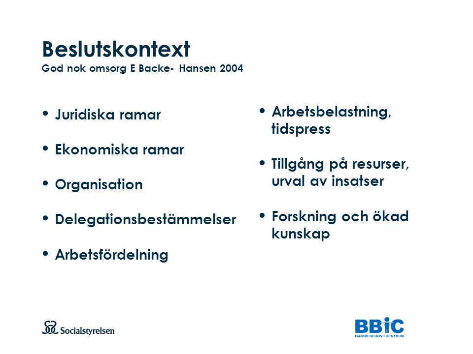 Beslutskontext God nok omsorg E Backe- Hansen 2004