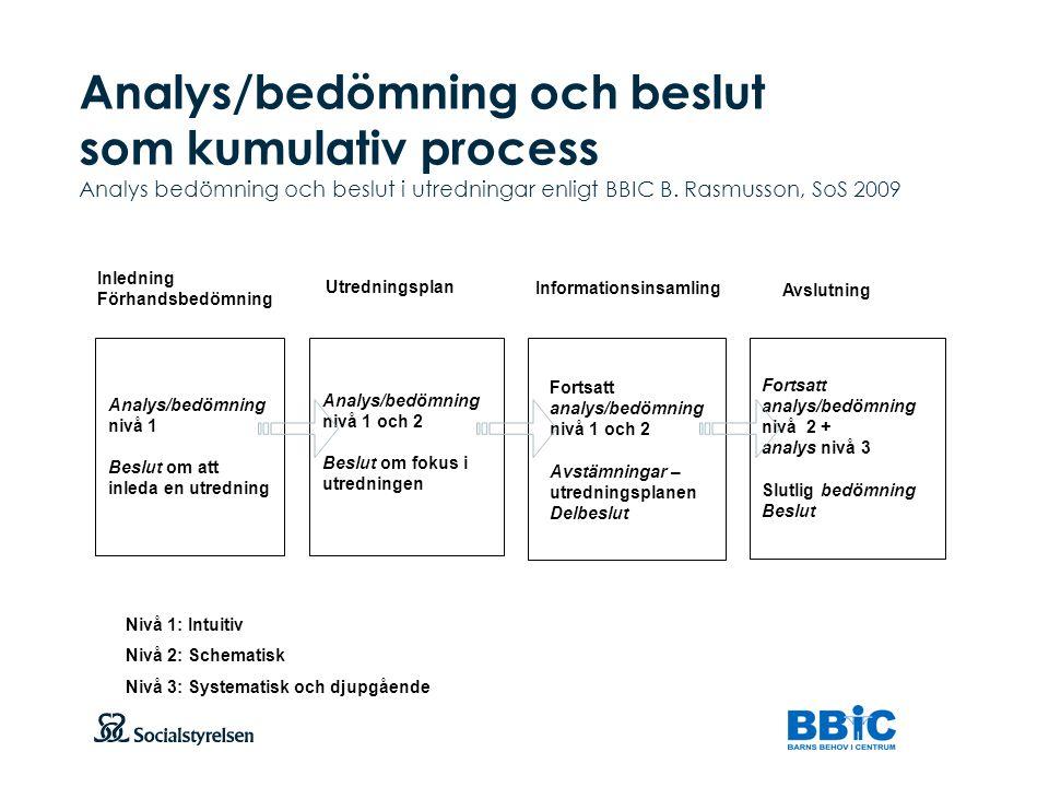 Analys/bedömning och beslut som kumulativ process Analys bedömning och beslut i utredningar enligt BBIC B. Rasmusson, SoS 2009