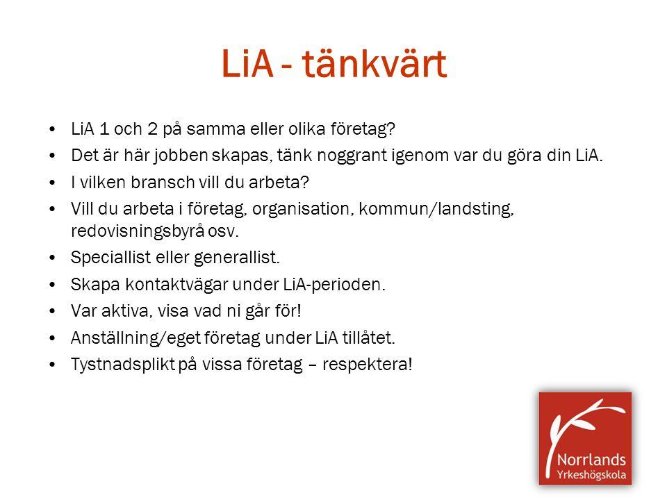 LiA - tänkvärt LiA 1 och 2 på samma eller olika företag
