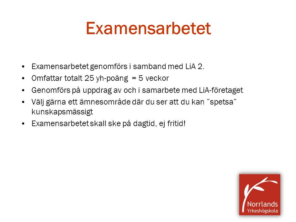 Examensarbetet Examensarbetet genomförs i samband med LiA 2.