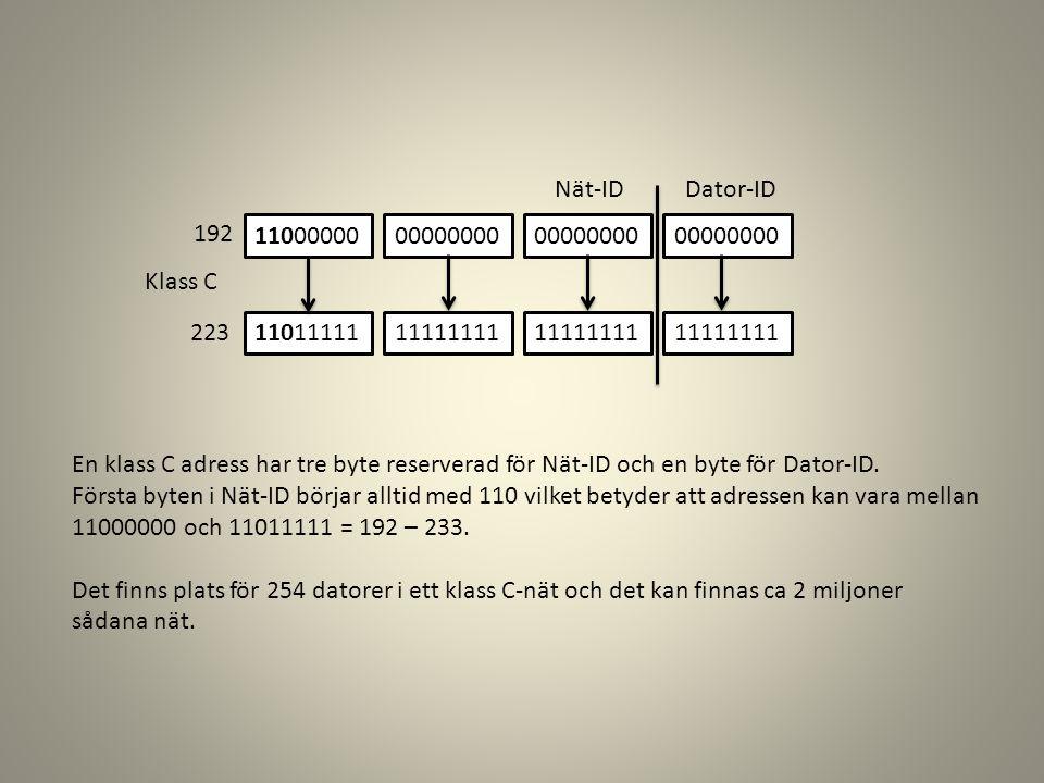Nät-ID Dator-ID. 11000000. 11011111. 00000000. 11111111. Klass C. 192. 223.