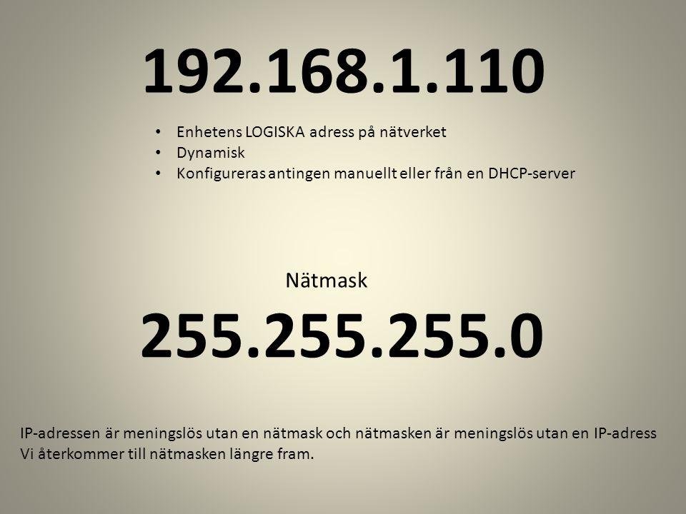 192.168.1.110 Enhetens LOGISKA adress på nätverket. Dynamisk. Konfigureras antingen manuellt eller från en DHCP-server.