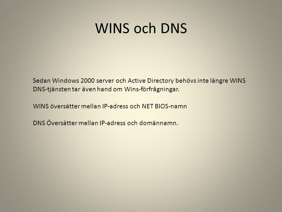 WINS och DNS Sedan Windows 2000 server och Active Directory behövs inte längre WINS. DNS-tjänsten tar även hand om Wins-förfrågningar.