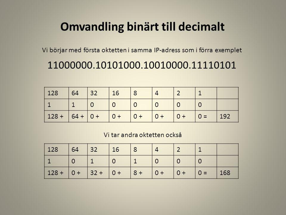 Omvandling binärt till decimalt