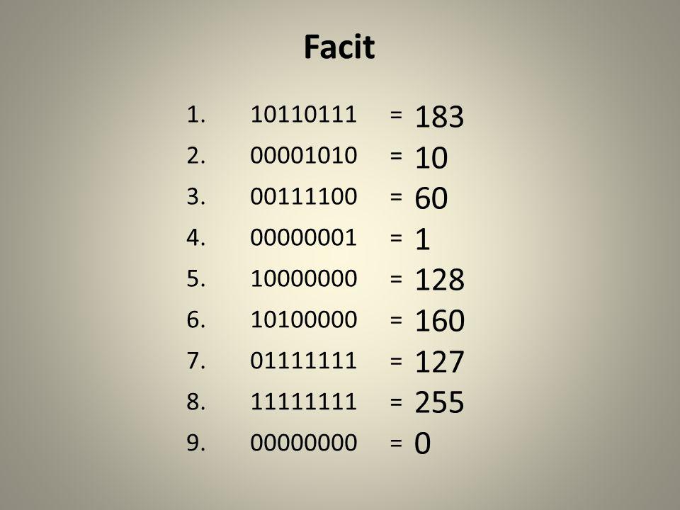 Facit 1. 10110111. = 2. 00001010. 3. 00111100. 4. 00000001. 5. 10000000. 6. 10100000. 7.
