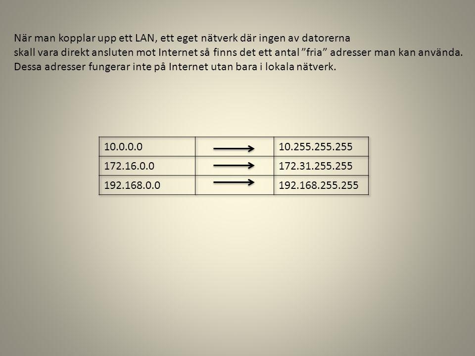 När man kopplar upp ett LAN, ett eget nätverk där ingen av datorerna