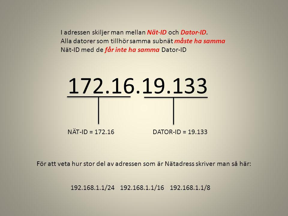 172.16.19.133 I adressen skiljer man mellan Nät-ID och Dator-ID.