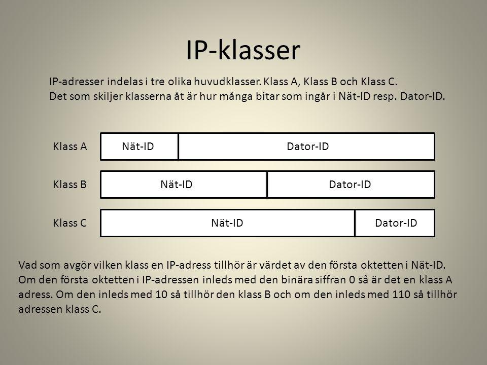 IP-klasser IP-adresser indelas i tre olika huvudklasser. Klass A, Klass B och Klass C.