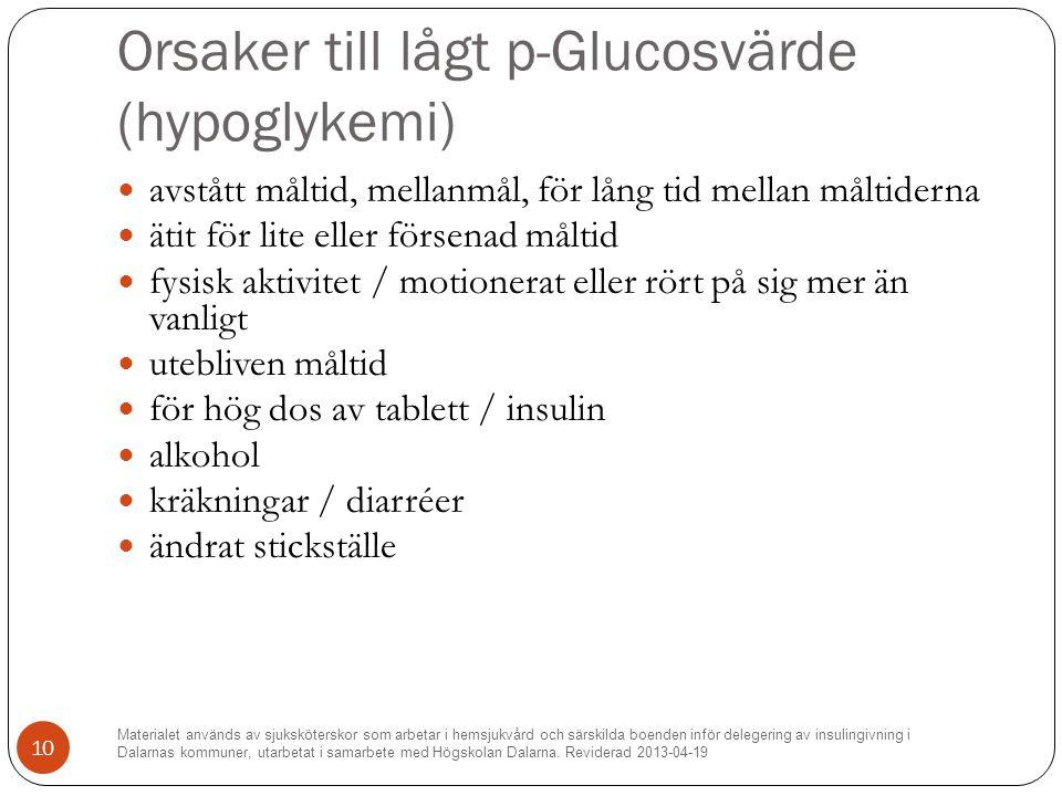 Orsaker till lågt p-Glucosvärde (hypoglykemi)