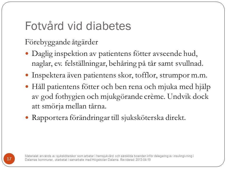 Fotvård vid diabetes Förebyggande åtgärder