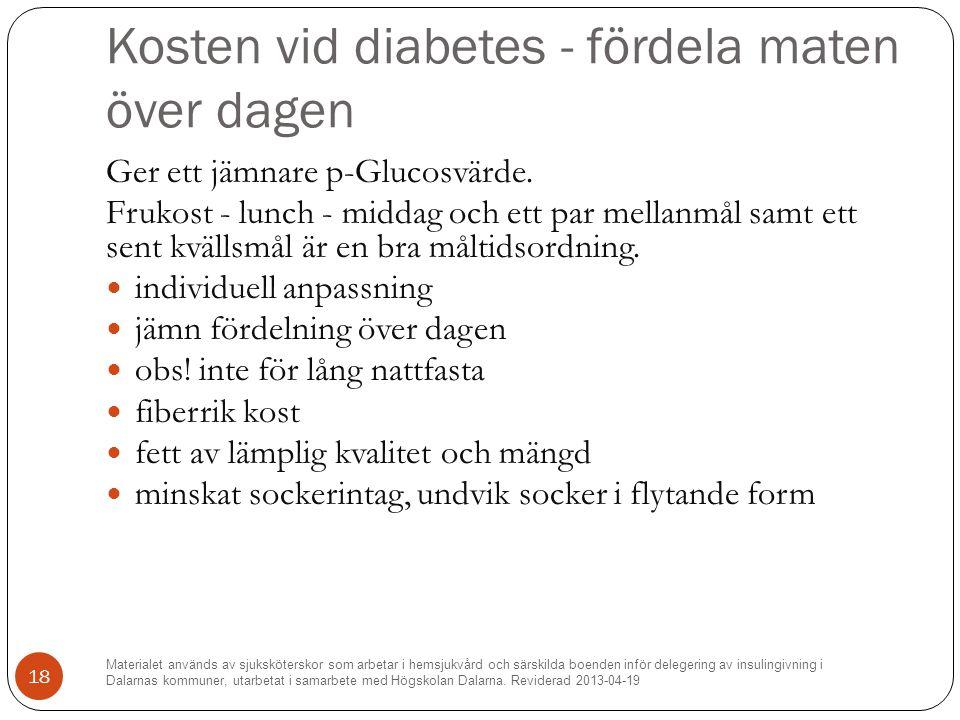 Kosten vid diabetes - fördela maten över dagen